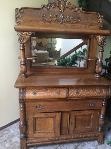 Antique Quarter Sawn Tiger Oak Buffet Sideboard Beveled
