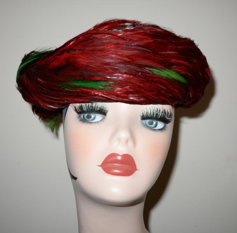 Vintage 1950's Vibrant Red Feather Brenton Hat