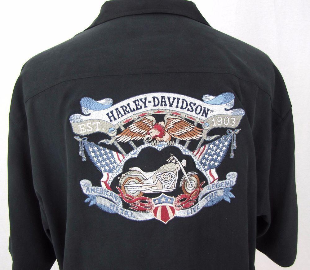 0e9f88b273fb Tommy Bahama Hawaiian Shirt XL Harley Davidson Motorcycle Eagle American  Flag #TommyBahama #Hawaiian