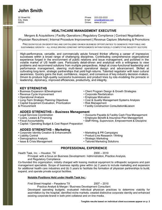 Executive Resumes Templates A Professional Resume Template For A Health Care Management