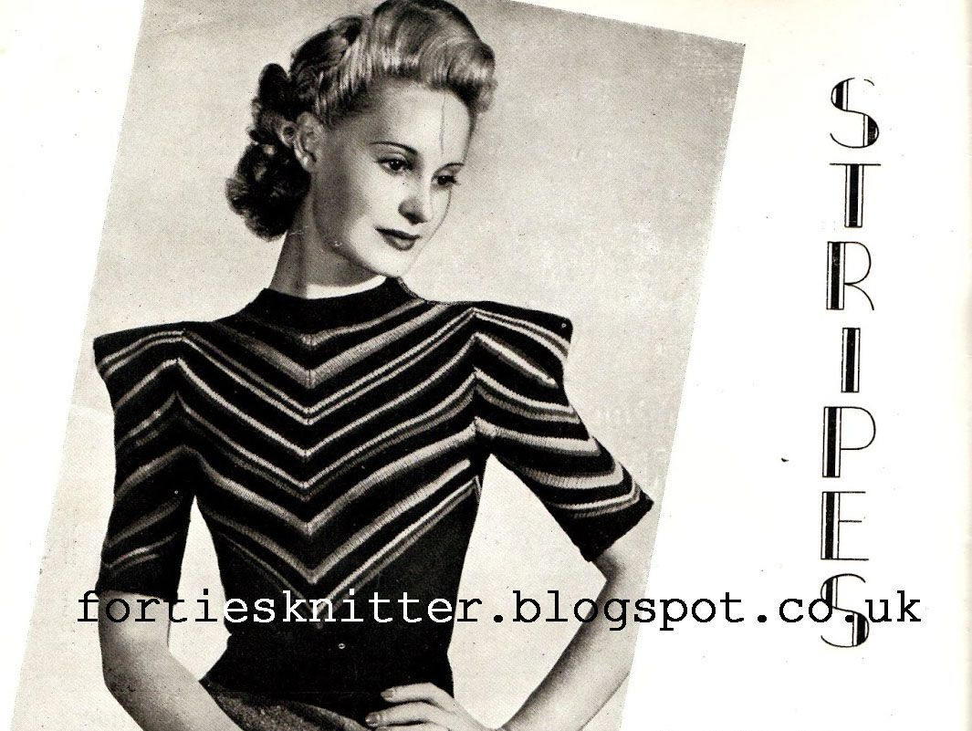 Free knitting pattern Stripes 1940\'s | Projects to Try | Pinterest ...