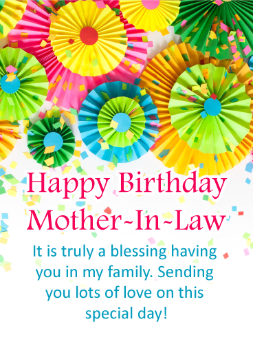 Colorful Rosettes Happy Birthday Card For Mother In Law Birthday Greeting Cards By Davia Birthday Cards For Mother Birthday Wishes For Mother Happy Birthday Mother