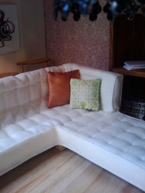 Miniature modular sofa.  Hand tufted.