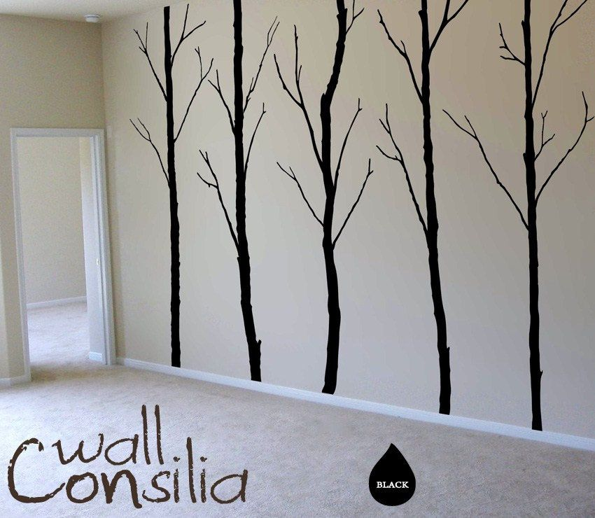 c872907a5cbc Winter Trees Decal - Tree Wall Decal Wall Sticker - Tree Decals - Large:  approx 96