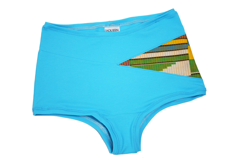 check out de58b a30de High waist panties african block print pattern, turquoise ...