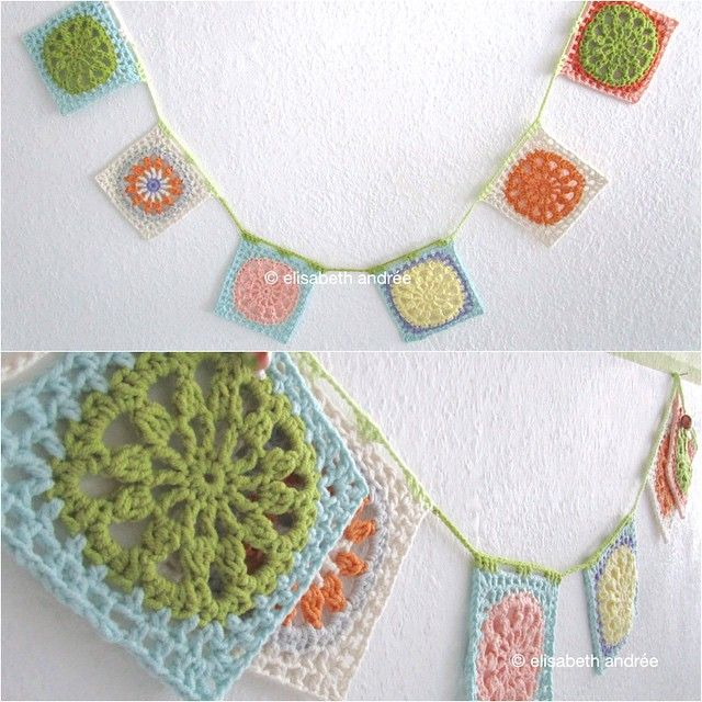 elisabethandree crochet bunting   banderines a crochet ...