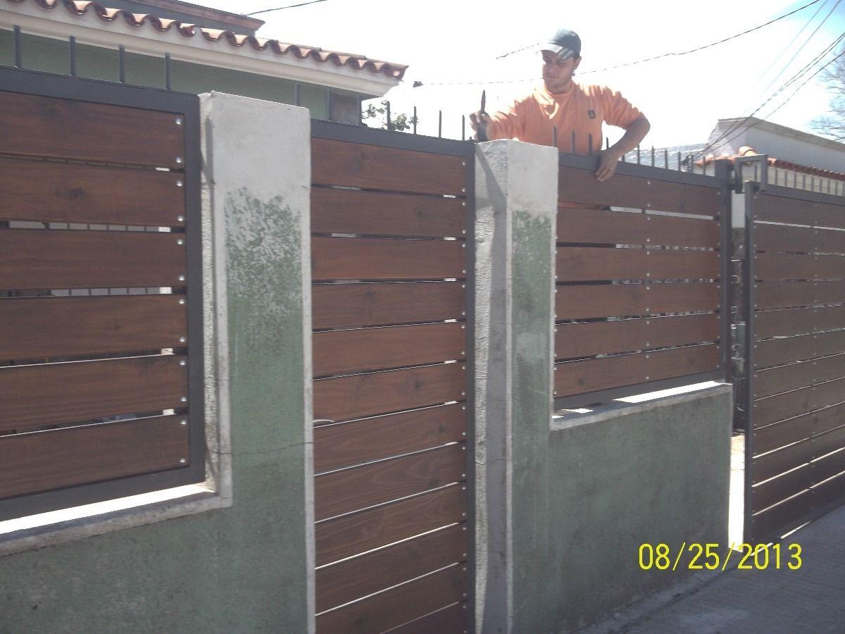 Portones hierro y madera en mercadolibre for Puertas y portones de madera