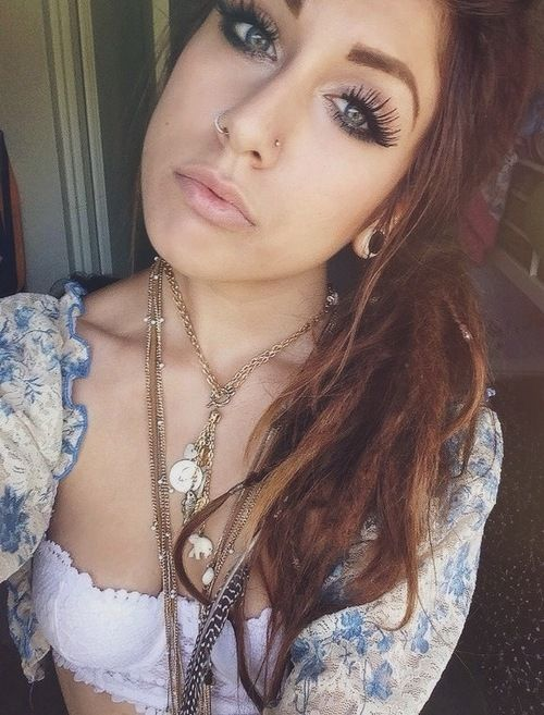 Hippie Inspired Makeup Vintage Nose Piercing Double Nose