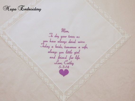 Step Mother Of The Bride Gift Groom Mom Embroidered Hankerchief Personalized Handkerchief Wedding