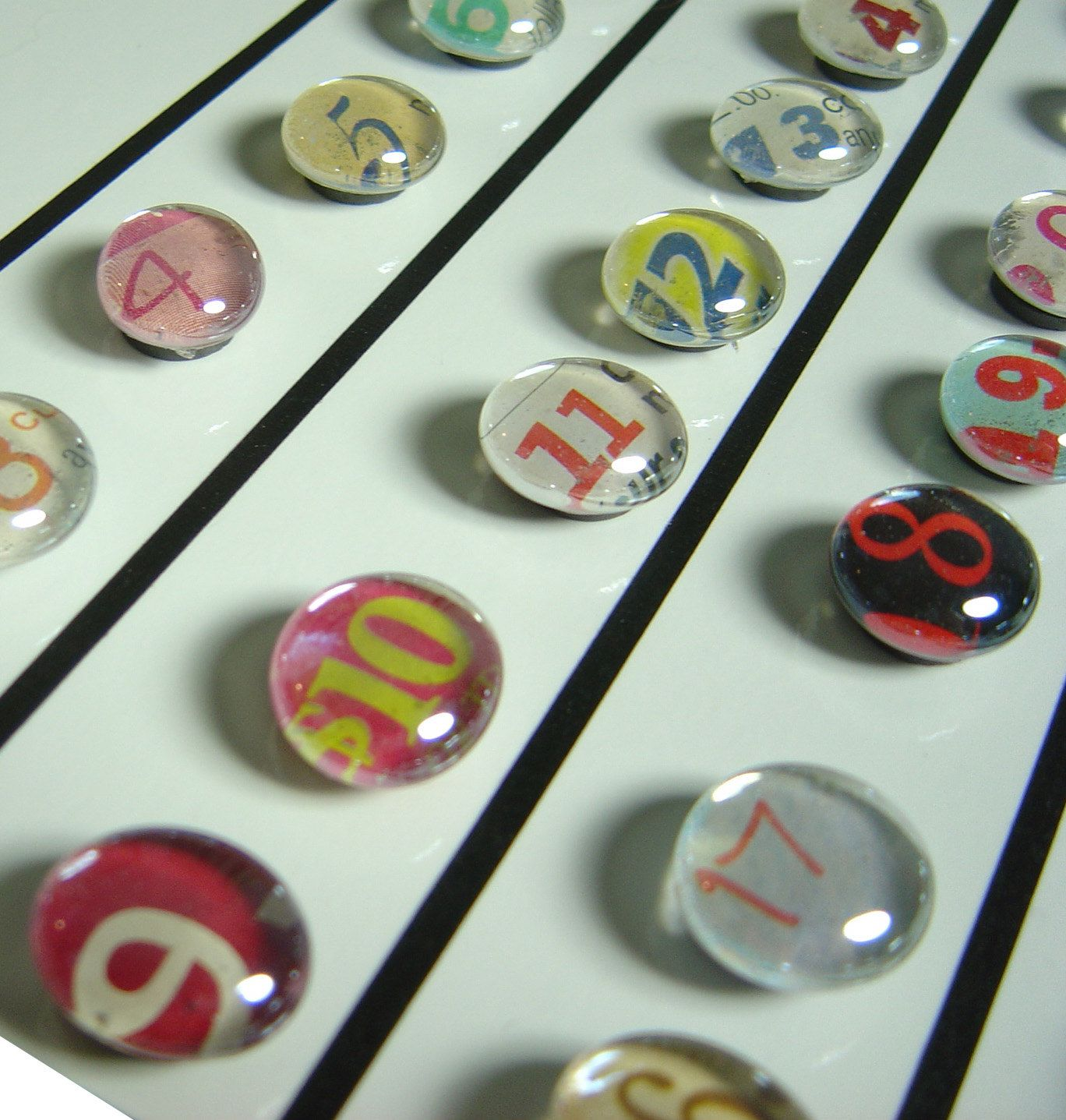colorful calendar magnet or push pin NUMBERS  by colorstorydesigns, $25.00