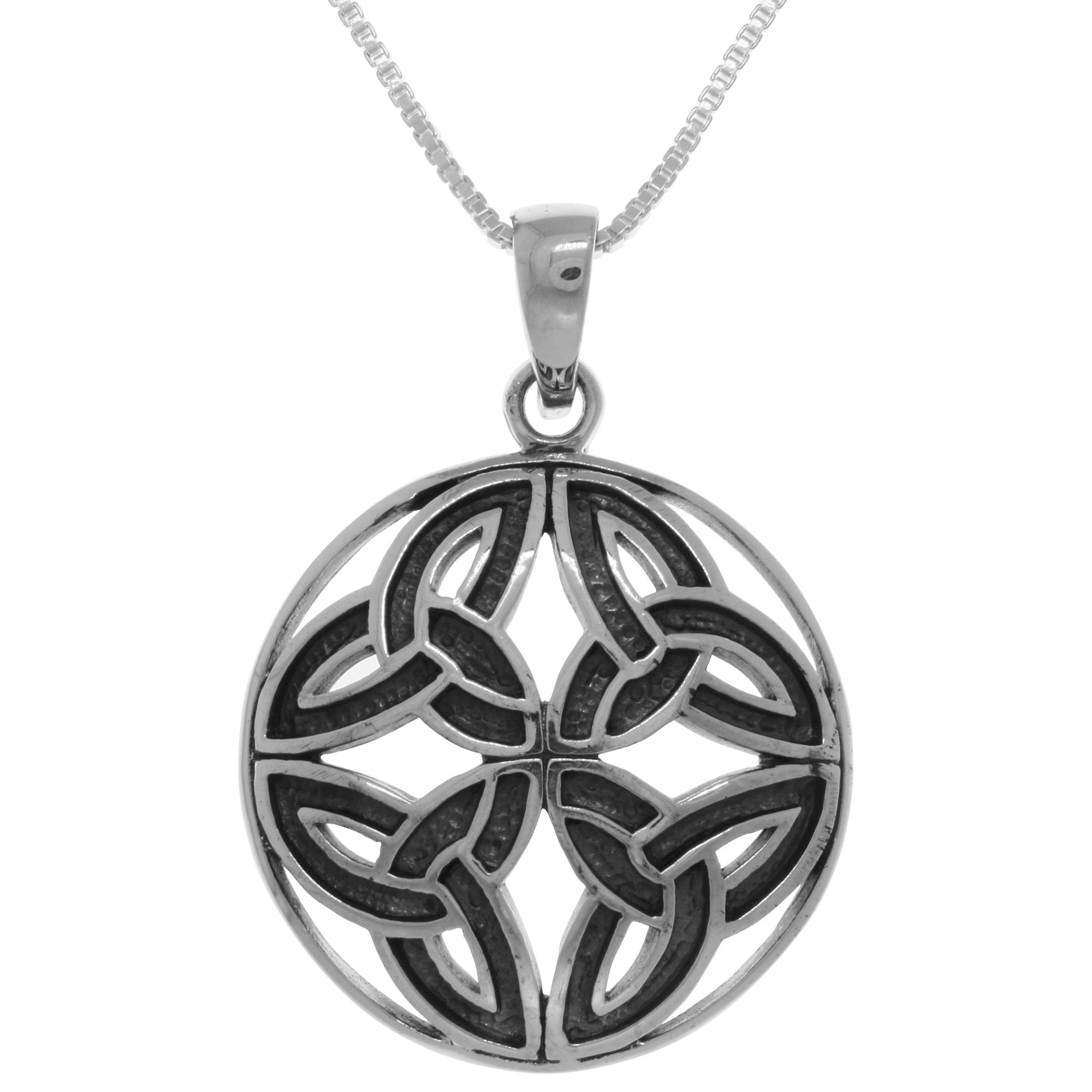silver black celtic charm sun cotton pendant necklace trilogy pewter itm jnt jewelry