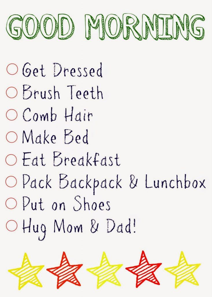 Kids\u0027 Daily Checklists Daily checklist and Parents