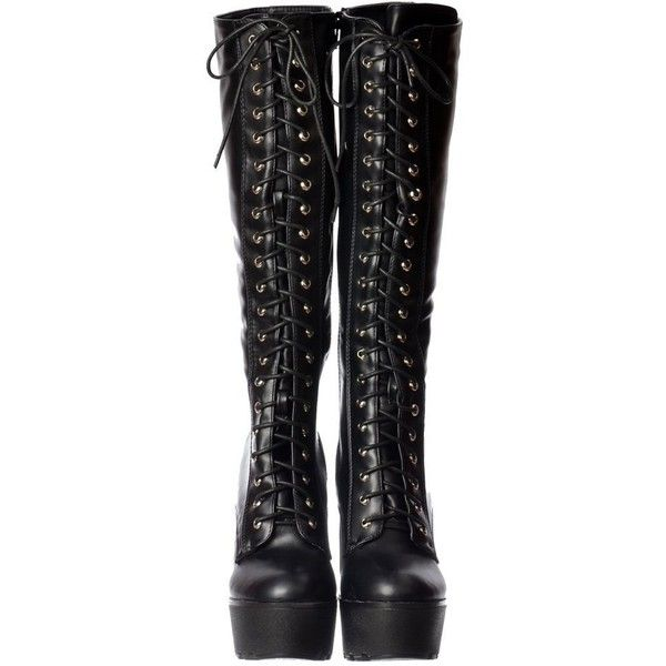 Womens Lace Up Block Heel Knee High Tall Boots