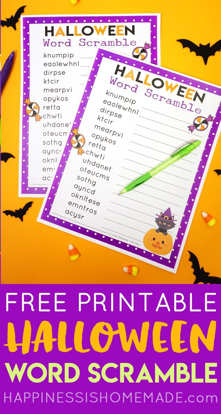 Halloween Word Scramble This printable Halloween Word