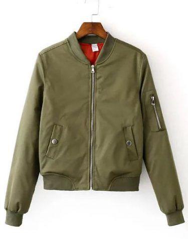 Army Green Zipper Bomber Jacket With Arm Pocket