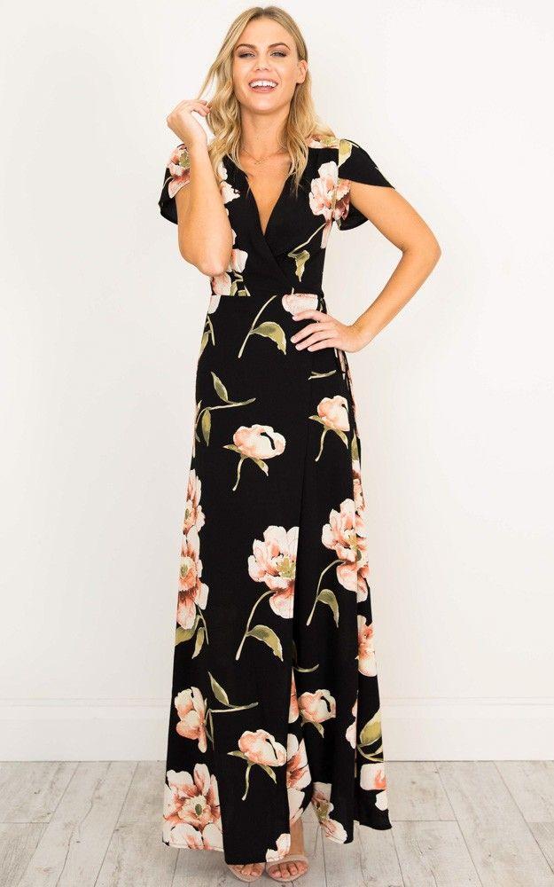 Feel The Burn maxi dress in black print