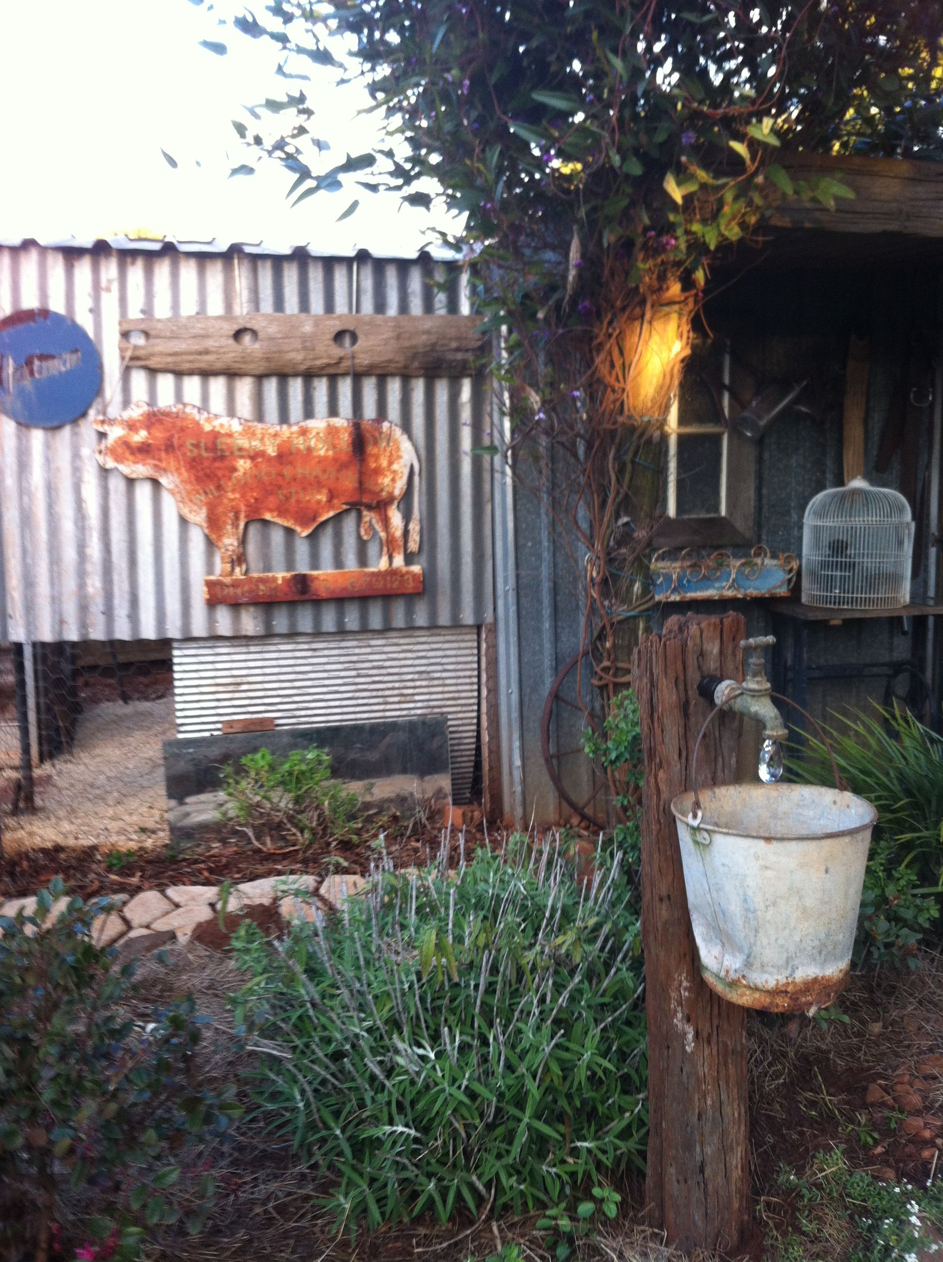 Garden Art Rusty Bucket Old Tap Old Fence Post Crystal Water Droplet Australia Garden Art Old Fences Fence Post Crafts