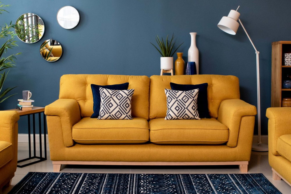 Mustard Yellow Highback 3 Seater Sofa - Fjord - EZ Living ... What about poufs or beanbags or somethingghe can roll around on as extra seating?
