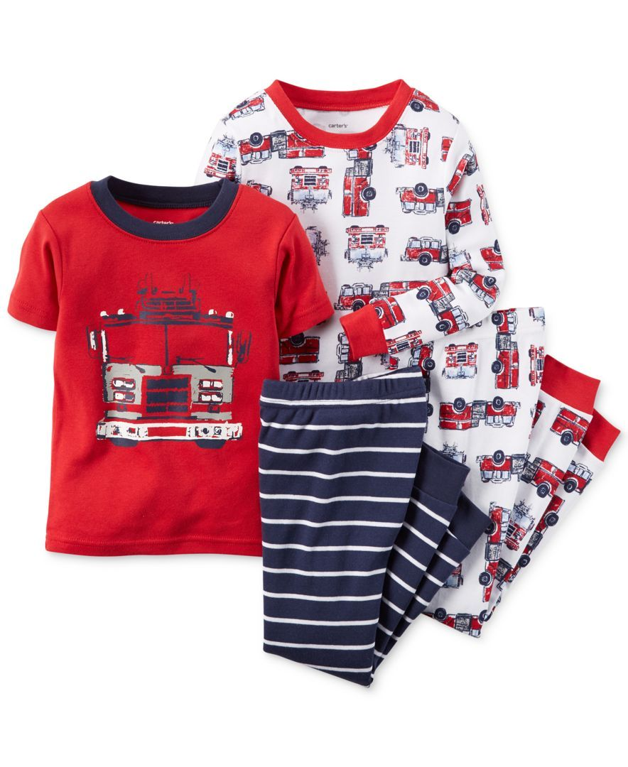 d2d370b1c Carter s Little Boys  4-Piece Firetruck Pajama Set