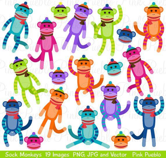 sock monkeys clipart clip art vectors great for sock por pinkpueblo rh pinterest com au sock monkey clip art pink sock monkey clip art free
