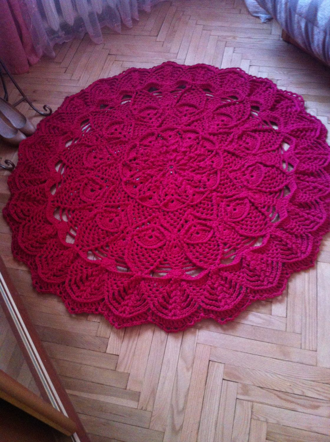 Large Round Crochet Carpet Crimson Rug Living Room Floor Mat French