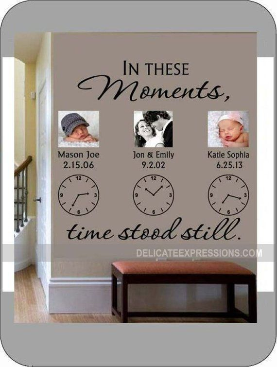 In These Moments Time Stood Still * Personalized Wall Decal * Family Wall Decal * Clock Wall Decal * Vinyl Lettering * Custom Wall Decal #remodelingorroomdesign