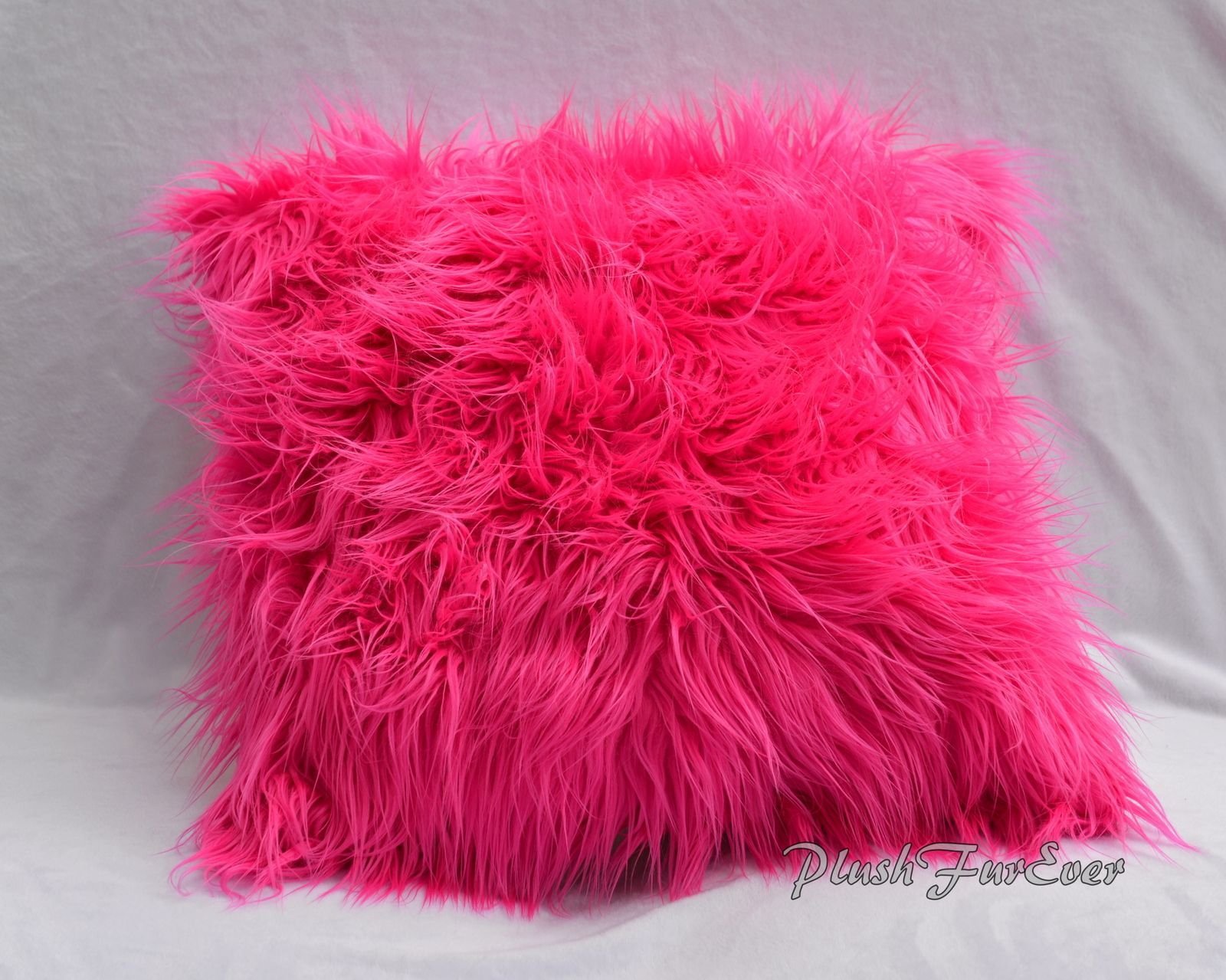 "Faux Fur Home Decor Pillows 17"" x 17"" (Inserts Included) Mongolian ..."