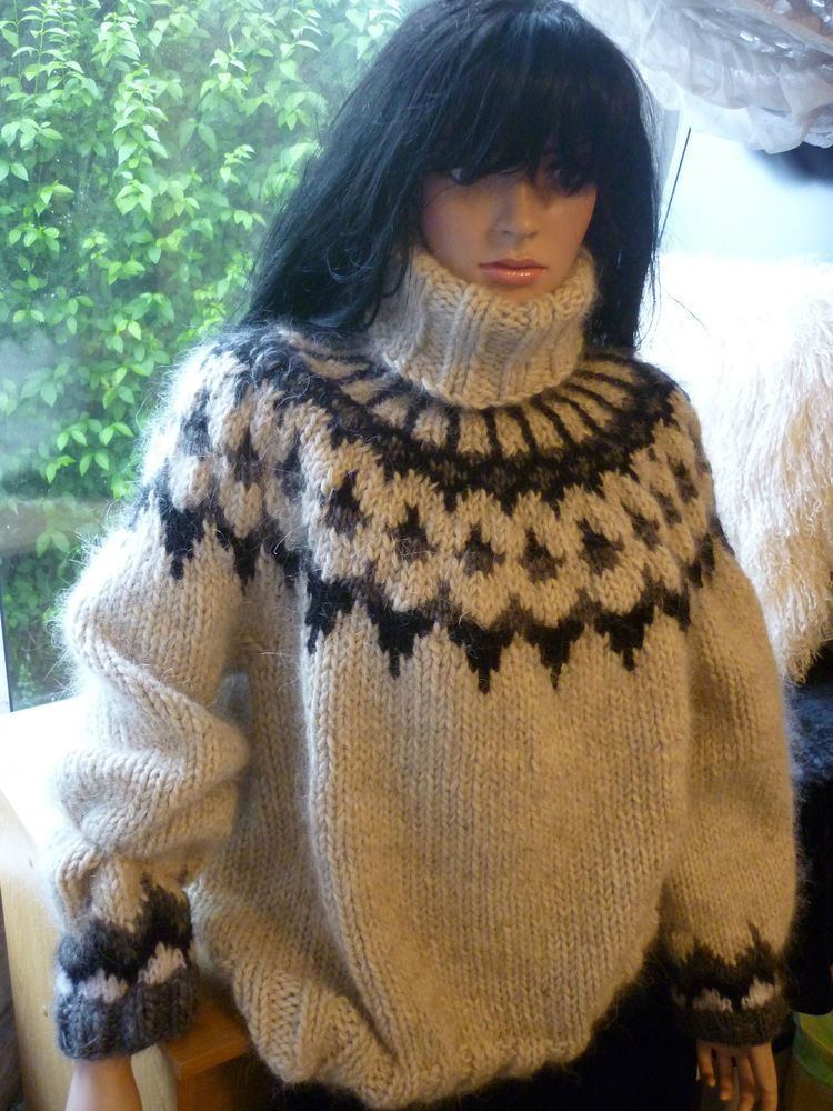 Hand Knitted Thick Chunky 1.6k Mohair & Lopi Wool Icelandic ...