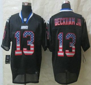 Nike New York Giants Jersey 13 Odell Beckham Jr 2014 USA Flag Fashion Black  Elite Jerseys 3d2ca2a50