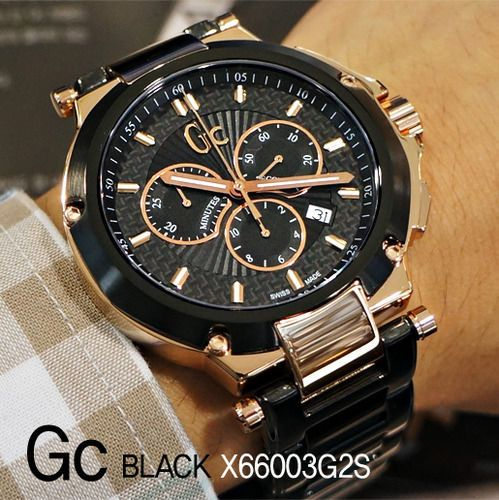 832314466 Gc-GUESS-COLLECTION-Watch-Mens-Chronograph-Black-PVD-Bracelet-44mm-X66003G2S