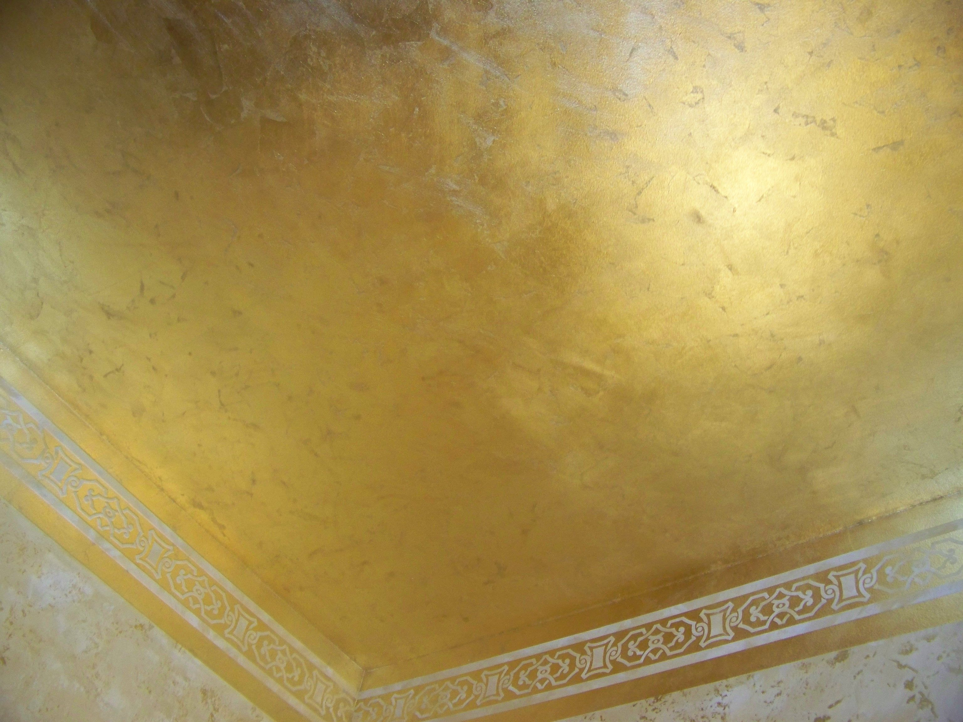 Multilayer Plaster Ceiling Finished in Schaibin Gold Flakes ...