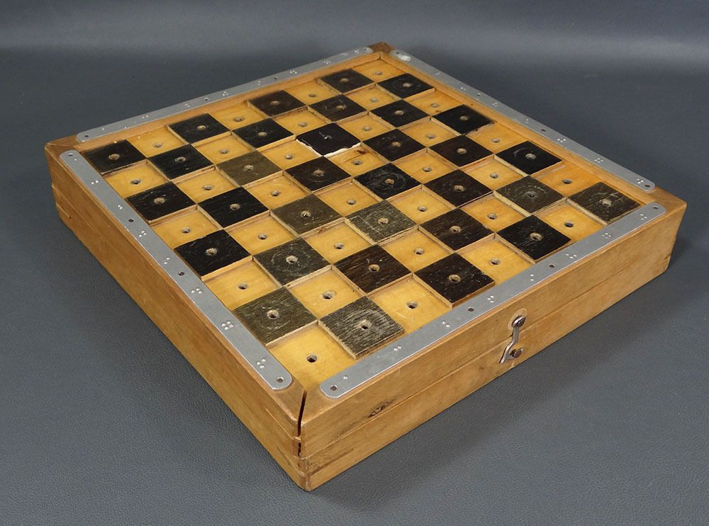 Rare Art Deco Braille Chess Checkers Wooden Pieces Figures