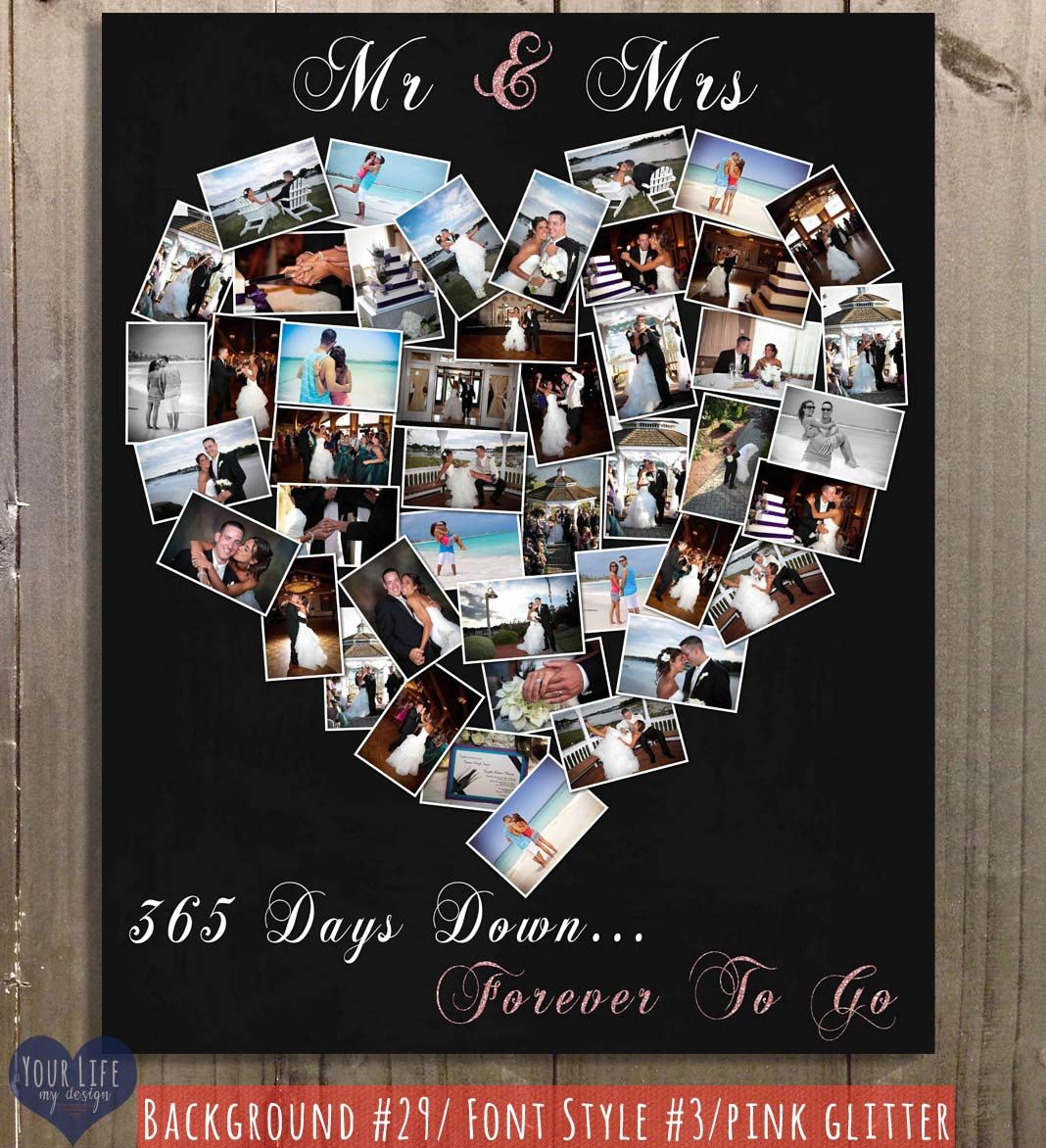 First anniversary gift anniversary photo collage for Gift for first wedding anniversary to wife