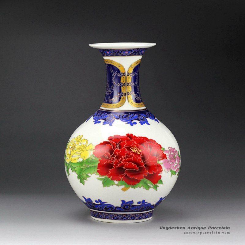 Peony Flower Pattern Wealth And Honor Moral Colorful Ceramic