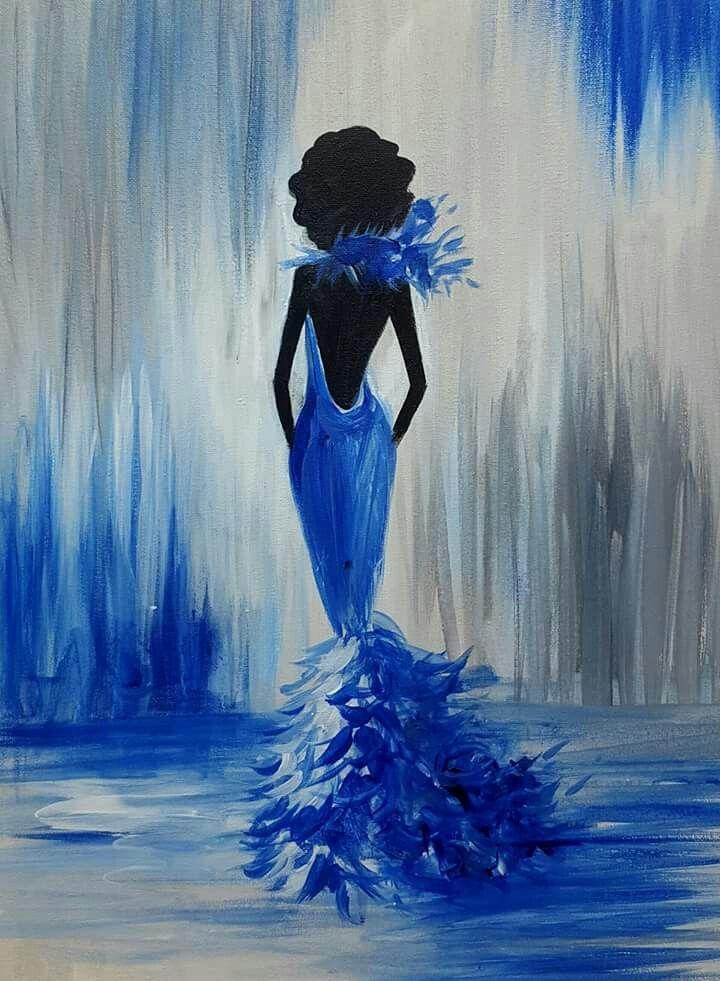 Blue lady painting cross paintings art