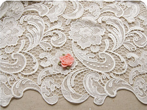 off White Lace Fabric , Bridal Crochet Lace Fabric for Wedding Gown Bridal Dress