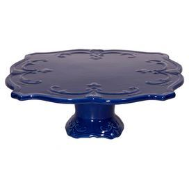 """Ceramic cake plate with a pedestal base and scrolling detail.    Product: Cake plateConstruction Material: CeramicColor: BlueDimensions: 12"""" W x 12"""" DCleaning and Care: Hand wash"""
