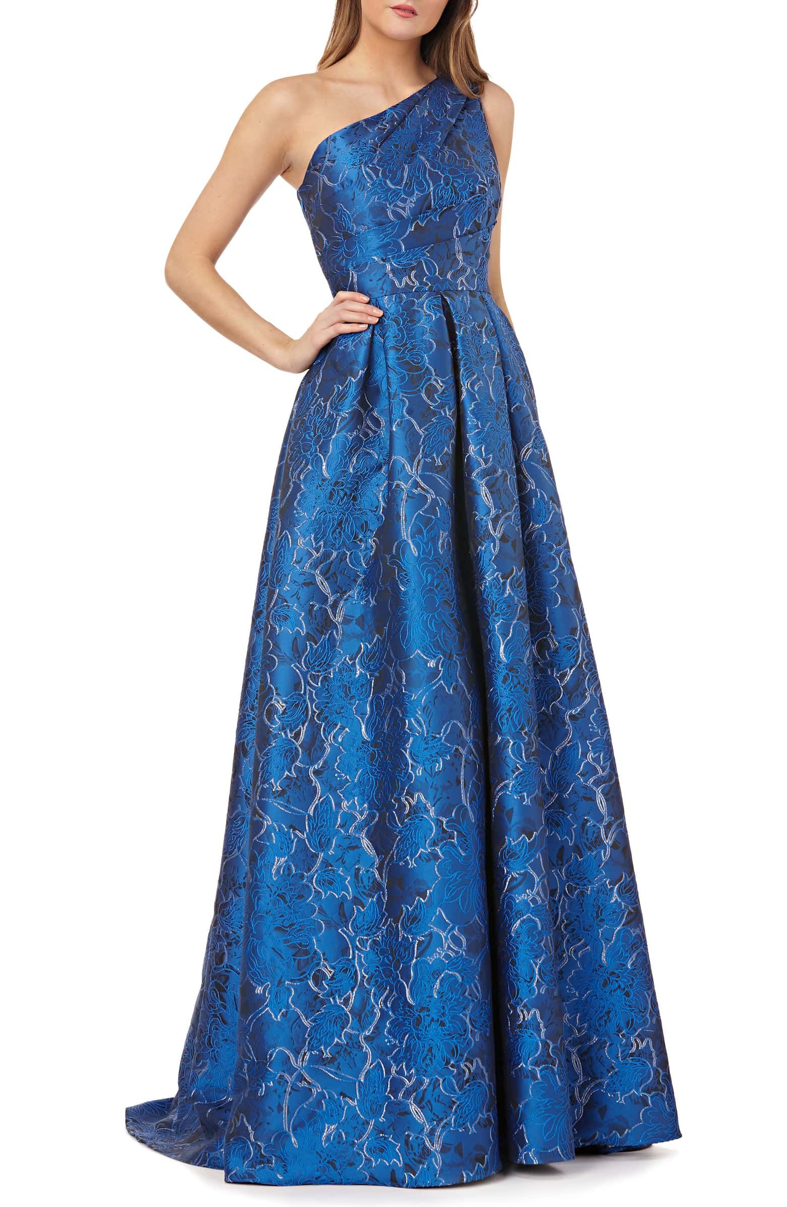 dcc125cb3a64 CARMEN MARC VALVO INFUSION One-Shoulder Ball Gown, Main, color, SAPPHIRE/  SIL