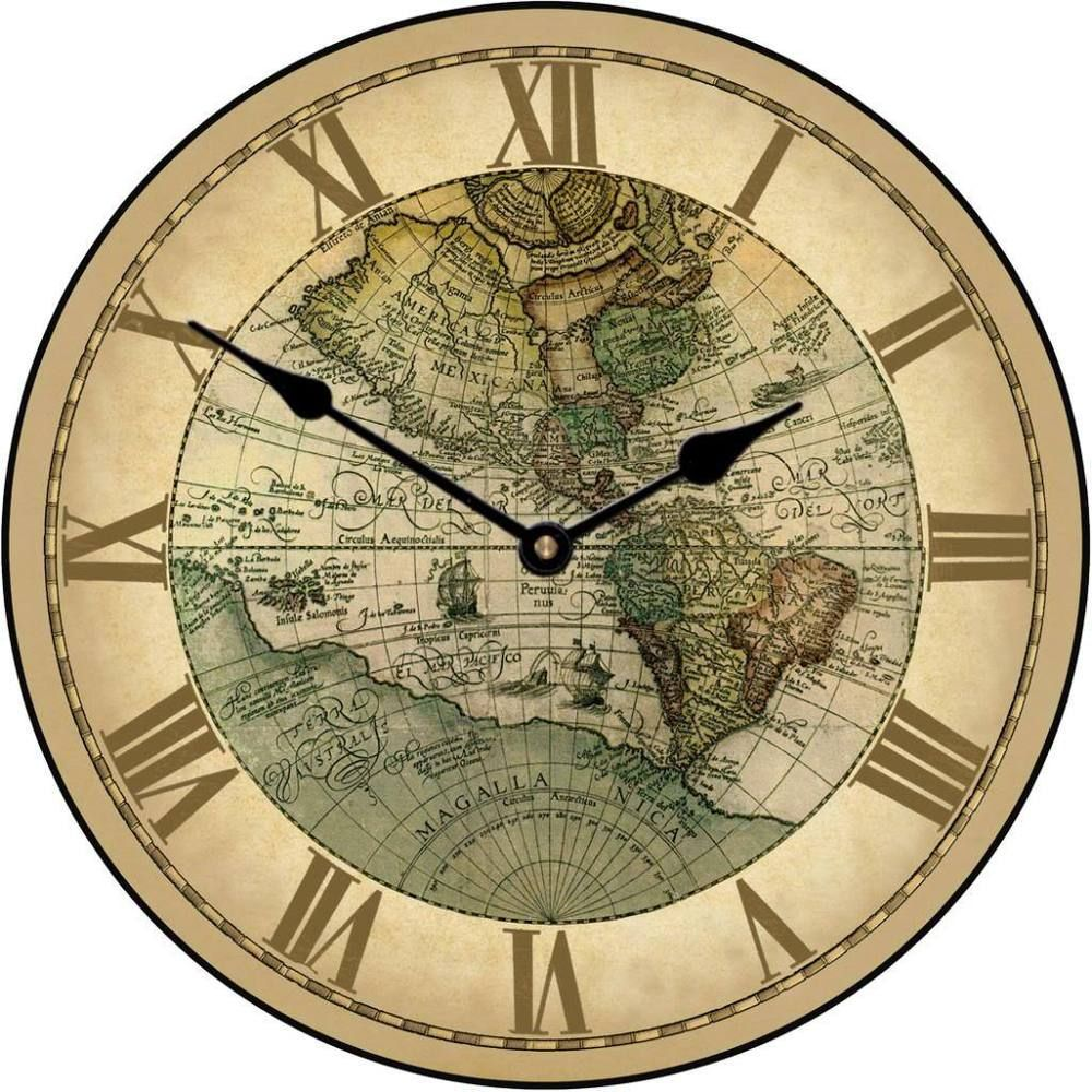 1596 world large wall clock 10 48 whisper quiet non ticking wood large wall 1596 world map clock 10 48 whisper quiet non gumiabroncs Image collections