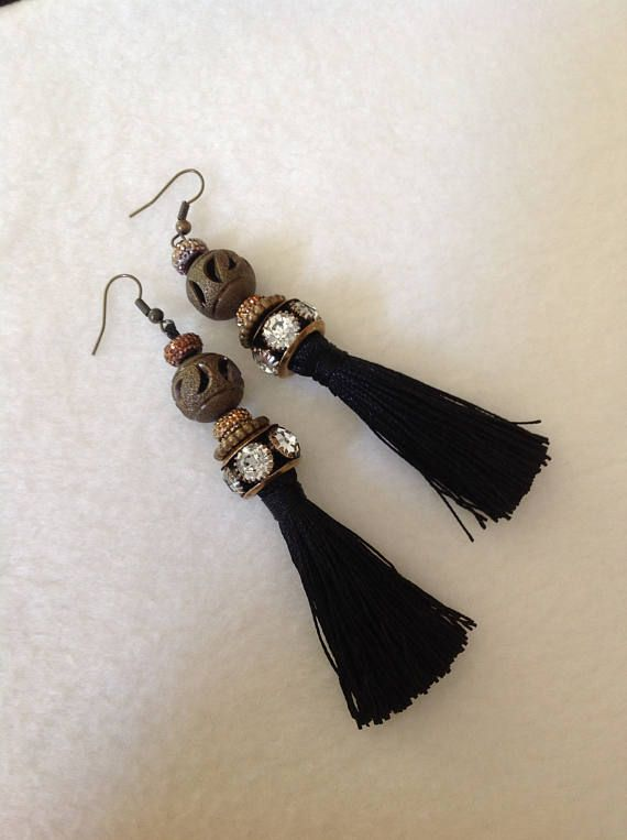 Tassel Earrings Fringe Earrings Long Earrings Black Bronze