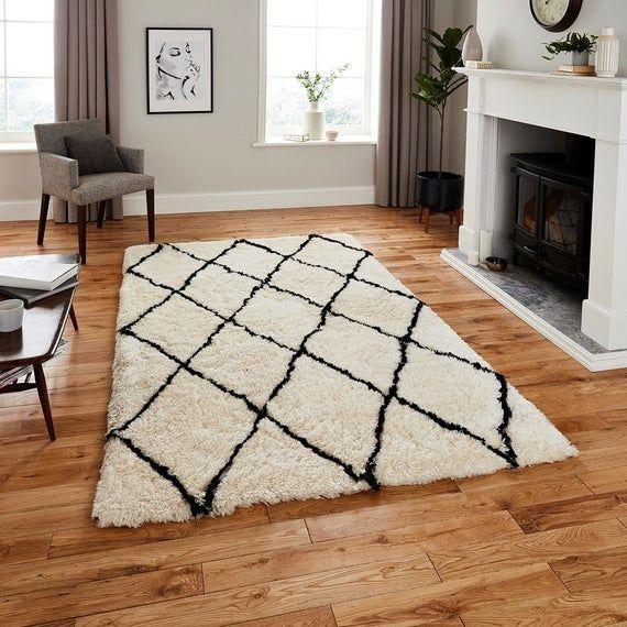 Moroccan Rug, Black White Geometric Rug, Large Shaggy Carpet, Boho Rug, Moroccan...