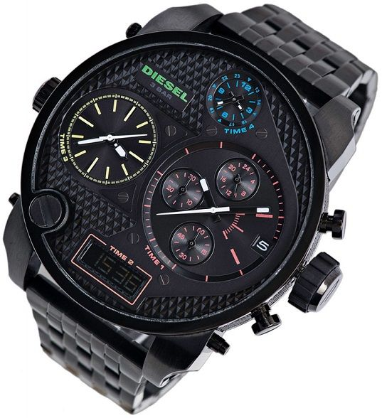 Diesel men's dz7266 Mr.daddy steel black chronograph watch.  Fantastic impact with the Diesel Mr Daddy Chronograph watch, with a massive 57mm case, on a solid stainless steel bracelet, all in black ion plated stainless steel. Powering the watch are 4 separate movement, including a digital movement at 6 o'clock, and a quartz chronograph with date at 3 o'clock. The dial is black, with all of the different subdial numerals and detailing in different colours.