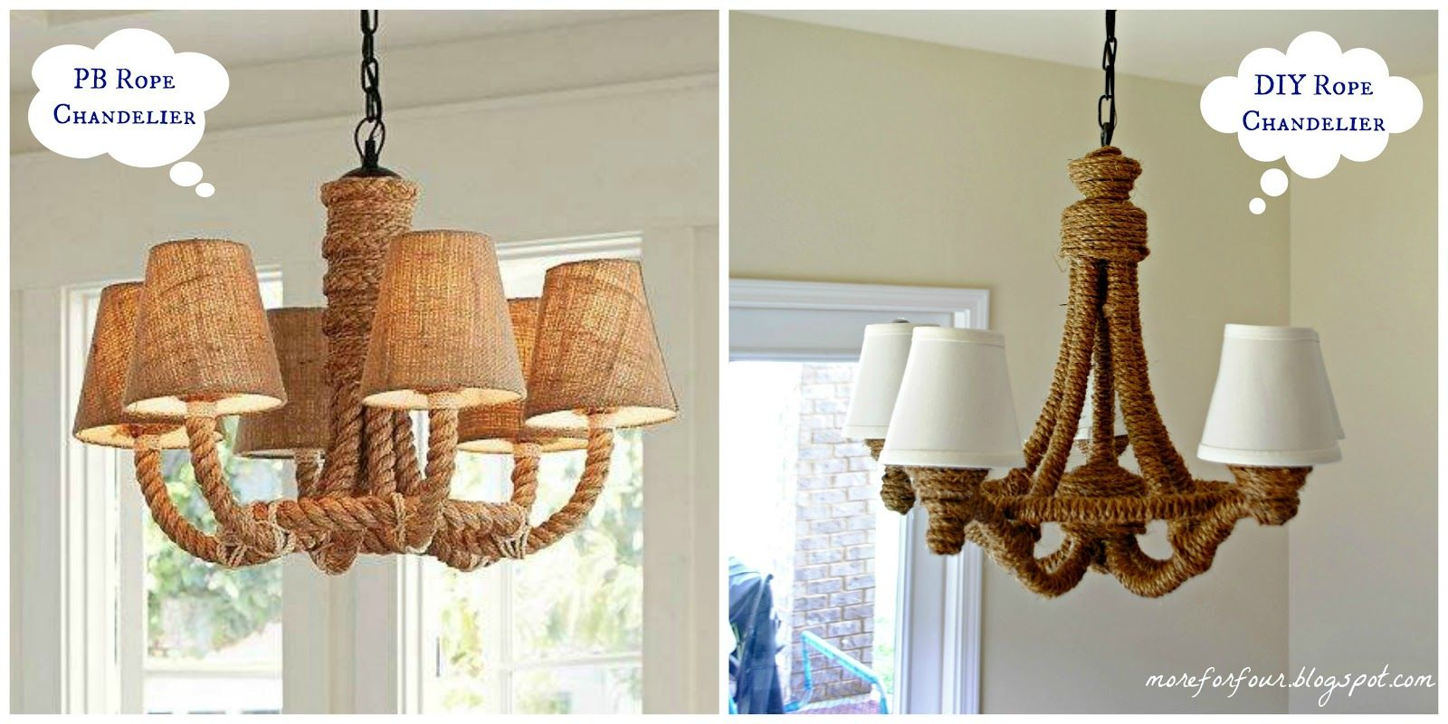 More For Four Diy Pottery Barn Rope Chandelier Rope Chandelier Diy Diy Pottery Pottery Barn Hacks