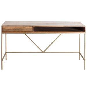 Madeleine Home 22 in. Rectangular Gold/Natural 1 Drawer Writing Desk with Shelf MH-TB-809 - The Home Depot