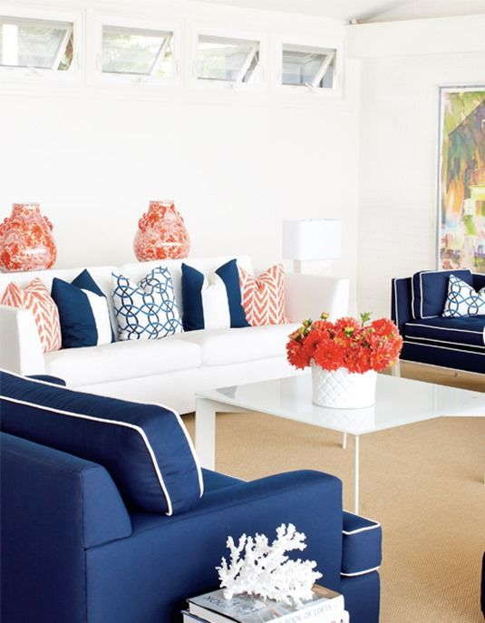 Decorating With Complementary Colors: Coral Navy Living Room Part 67