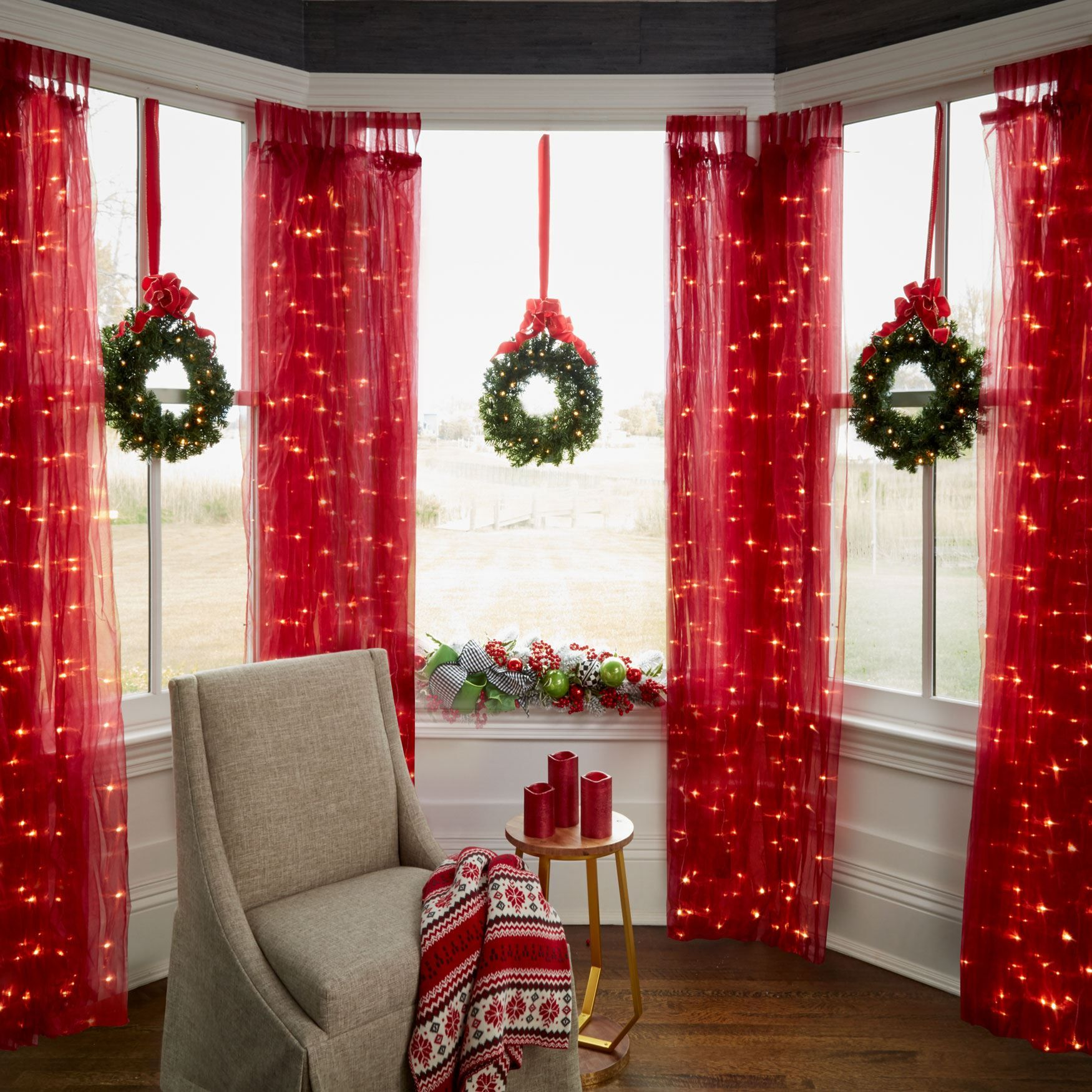 5 Curtain Ideas For Bay Windows Curtains Up Blog: A Festive Trio Of Mini Christmas Wreaths, Each Gleaming