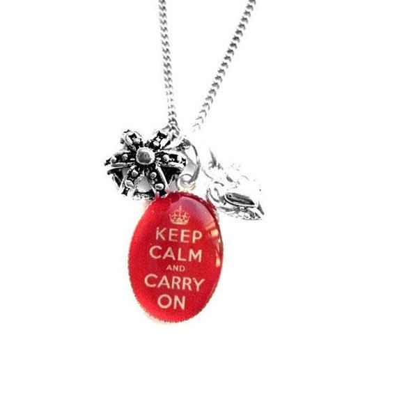 Keep Calm and Carry On Crown and Heart Charm Necklace by hoolala, $38.50