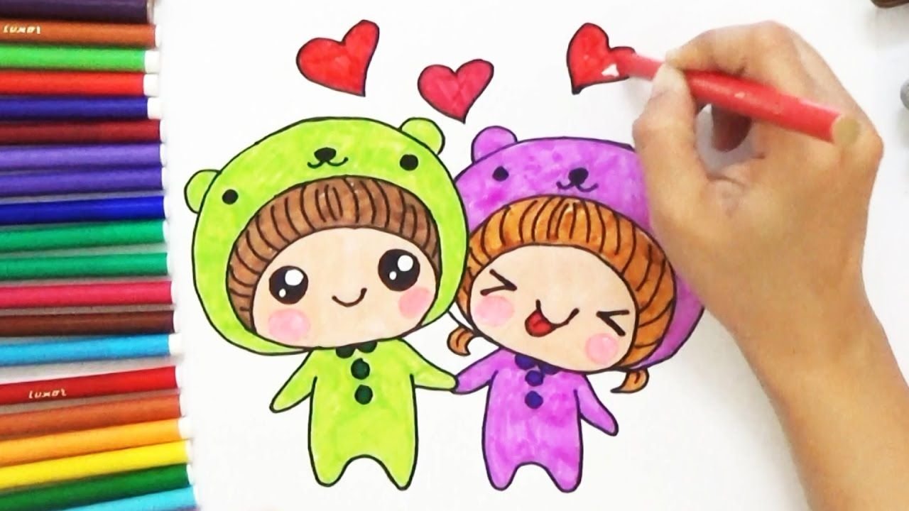 How To Draw Cute Cartoon Couple For Kids D4k Cartoon Couples Drawings Couple Cartoon Cute Drawings