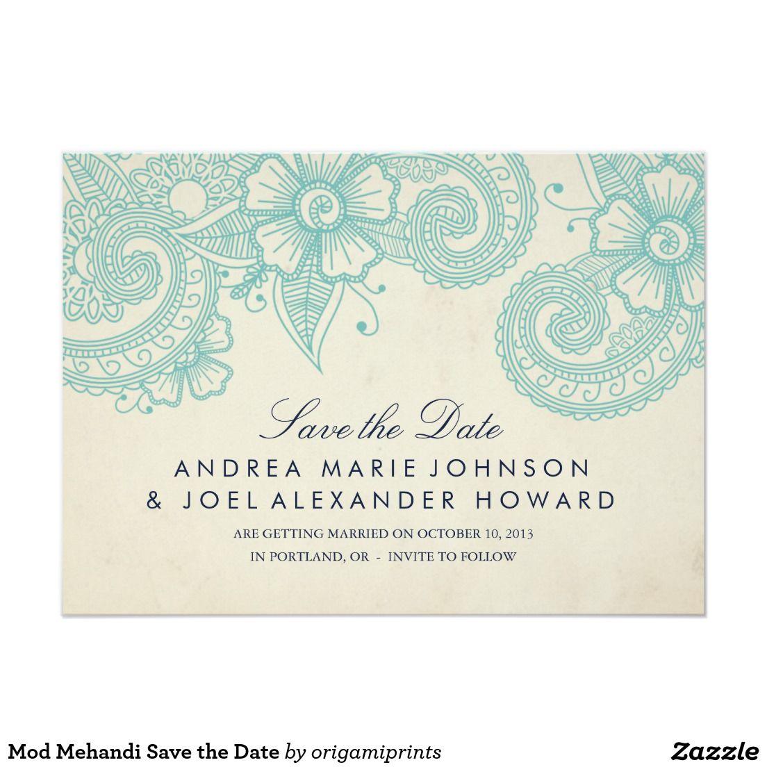 Mod Mehandi Save the Date 4.5x6.25 Paper Invitation Card | Wedding ...