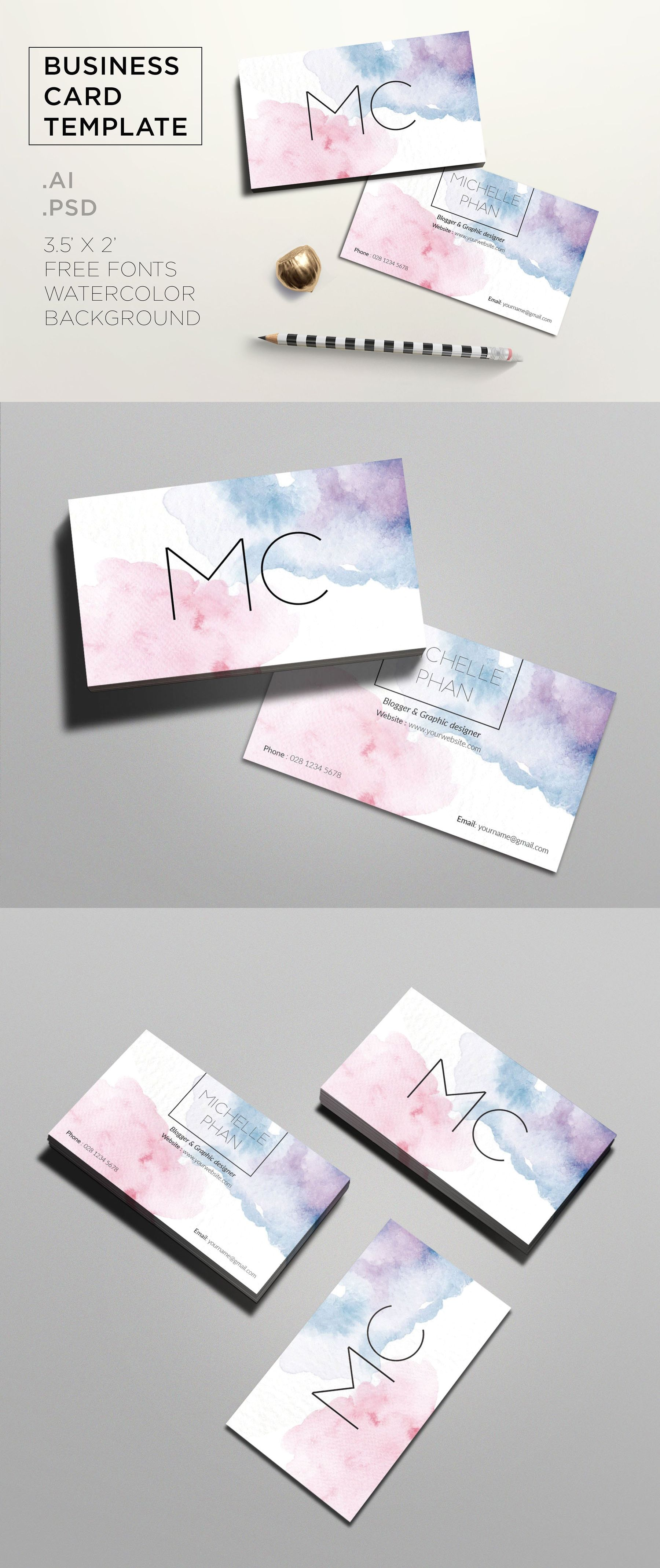 Creative watercolor business card Templates AI, PSD | Business Card ...